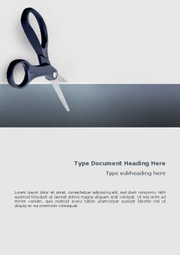 Scissors Word Template, Cover Page, 02557, Business Concepts — PoweredTemplate.com