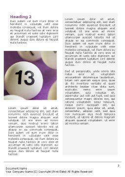 Lotto Balls Word Template Second Inner Page