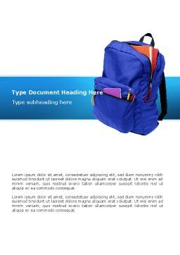 School Backpack Word Template, Cover Page, 02577, Education & Training — PoweredTemplate.com