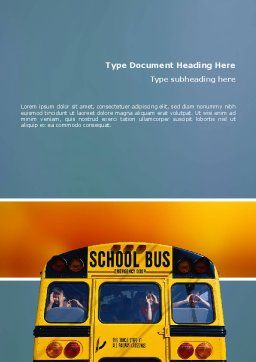 School Bus Aft Word Template, Cover Page, 02587, Education & Training — PoweredTemplate.com