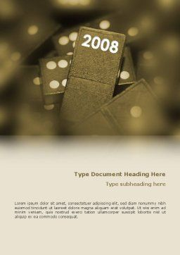 Year 2008 In Domino Word Template, Cover Page, 02594, Business Concepts — PoweredTemplate.com