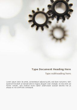 Gears Word Template, Cover Page, 02605, Utilities/Industrial — PoweredTemplate.com