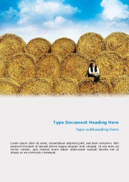 Rolls Of Hay Word Template, Cover Page, 02611, Agriculture and Animals — PoweredTemplate.com