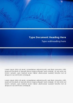 ECG in Blue Word Template, Cover Page, 02617, Medical — PoweredTemplate.com