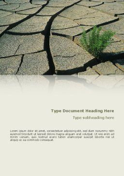 Drought Word Template, Cover Page, 02635, Nature & Environment — PoweredTemplate.com