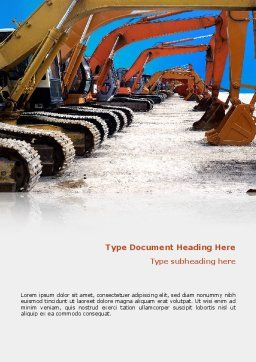Heavy Construction Equipment Word Template, Cover Page, 02636, Utilities/Industrial — PoweredTemplate.com