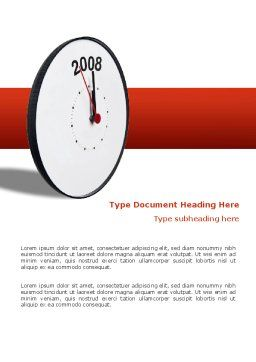 Year 2008 with Clockface Word Template, Cover Page, 02640, Business Concepts — PoweredTemplate.com