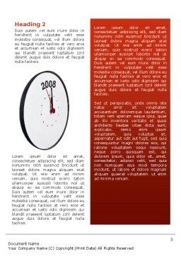 Year 2008 with Clockface Word Template, Second Inner Page, 02640, Business Concepts — PoweredTemplate.com