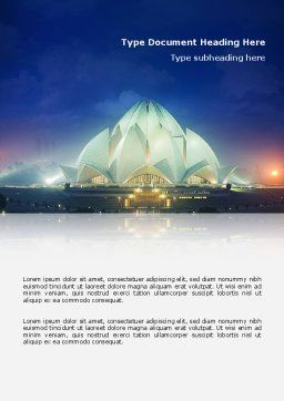 Lotus Temple Word Template Cover Page