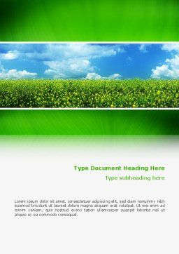 Green Field In A Sunny Day Word Template, Cover Page, 02663, Nature & Environment — PoweredTemplate.com