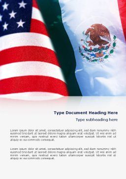 Mexico and USA Word Template, Cover Page, 02668, Flags/International — PoweredTemplate.com