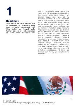 Mexico and USA Word Template, First Inner Page, 02668, Flags/International — PoweredTemplate.com