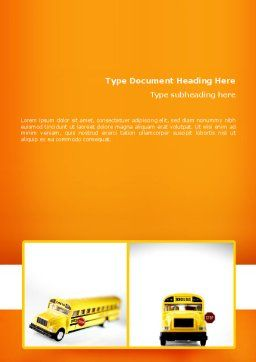 School Bus Model Word Template, Cover Page, 02672, Cars/Transportation — PoweredTemplate.com