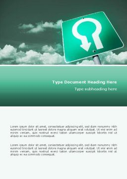 U Turn Word Template, Cover Page, 02680, Consulting — PoweredTemplate.com