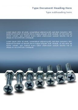Screw-Nut and Bolt Word Template, Cover Page, 02703, Utilities/Industrial — PoweredTemplate.com