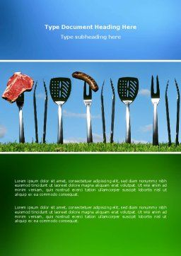 BBQ And Grill Tools Word Template, Cover Page, 02709, Food & Beverage — PoweredTemplate.com