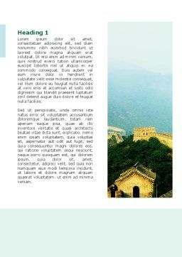 Fragment Of Great Wall of China Word Template, First Inner Page, 02712, Construction — PoweredTemplate.com