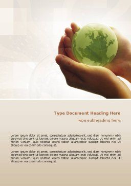 World in Hands Word Template Cover Page