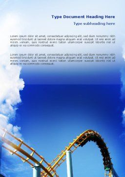 Roller Coaster Word Template Cover Page