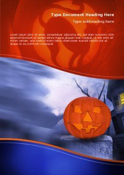Jack-o-lantern In The Scary Night Word Template, Cover Page, 02741, Holiday/Special Occasion — PoweredTemplate.com