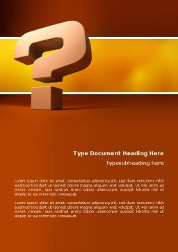 Question Mark In 3D Word Template, Cover Page, 02749, Consulting — PoweredTemplate.com