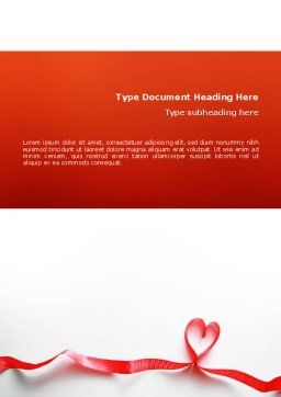 Heart Ribbon Word Template, Cover Page, 02757, Holiday/Special Occasion — PoweredTemplate.com
