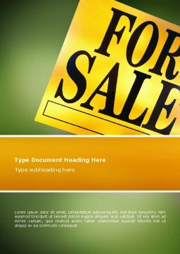 Real Estate Sale Word Template, Cover Page, 02772, Careers/Industry — PoweredTemplate.com
