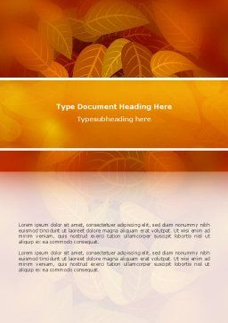 Yellow Brown Colored Leaves Word Template Cover Page
