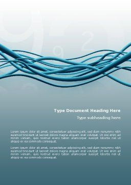 Aqua Blue Wires Word Template, Cover Page, 02781, Telecommunication — PoweredTemplate.com