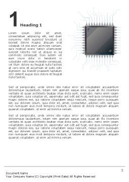 Microchip In Gray Colors Word Template, First Inner Page, 02782, Technology, Science & Computers — PoweredTemplate.com