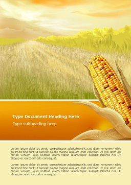 Free Corn Thanksgiving Word Template Cover Page