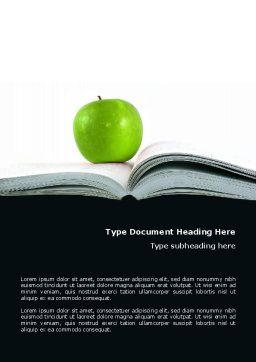 Book And Apple Word Template, Cover Page, 02824, Education & Training — PoweredTemplate.com