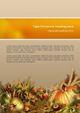 Autumn Harvest Word Template Cover Page
