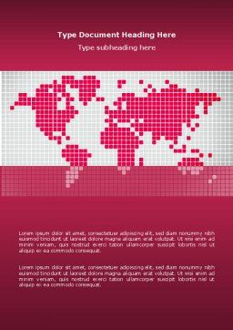 Crimson World Word Template, Cover Page, 02828, Global — PoweredTemplate.com