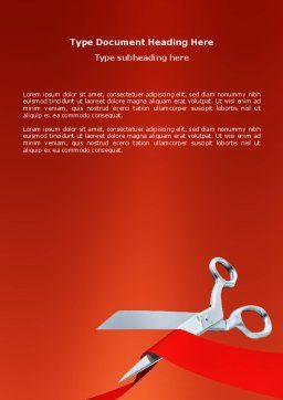 Cutting Red Tape Word Template, Cover Page, 02829, Holiday/Special Occasion — PoweredTemplate.com