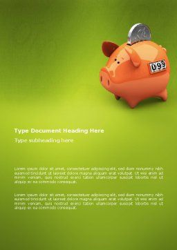 Piggy-bank Word Template, Cover Page, 02832, Financial/Accounting — PoweredTemplate.com