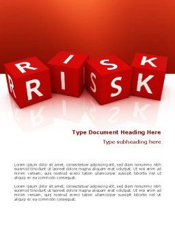 Red Risk Cubes Word Template, Cover Page, 02837, 3D — PoweredTemplate.com