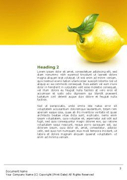Yellow Lemon Word Template, Second Inner Page, 02841, Agriculture and Animals — PoweredTemplate.com