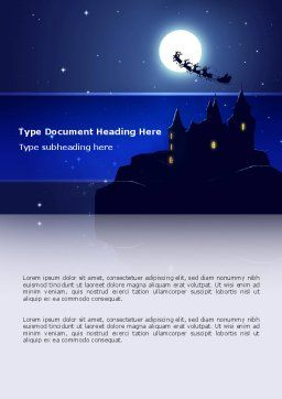 Santa's Sleigh On The Background Of The Moon Word Template, Cover Page, 02850, Holiday/Special Occasion — PoweredTemplate.com
