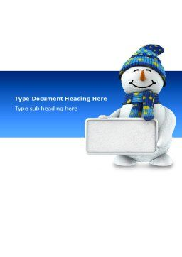 Smiling Snowman Word Template, Cover Page, 02857, Holiday/Special Occasion — PoweredTemplate.com