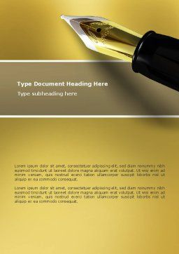 Fountain Pen On The Light Gold Word Template, Cover Page, 02862, Business — PoweredTemplate.com
