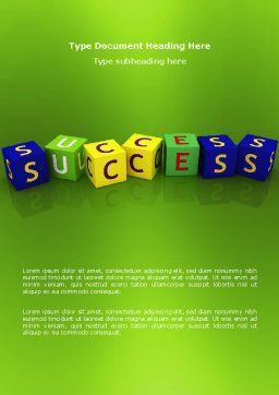 Success Word Template, Cover Page, 02869, 3D — PoweredTemplate.com