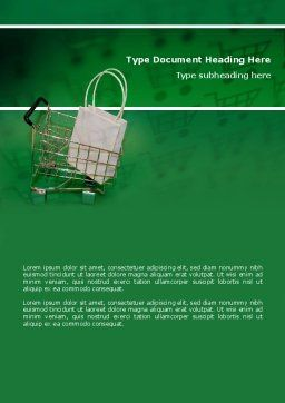Shopping Cart With White Bag Word Template, Cover Page, 02878, Careers/Industry — PoweredTemplate.com