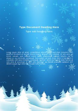 Forest Snow Word Template, Cover Page, 02888, Holiday/Special Occasion — PoweredTemplate.com