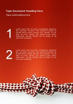 Knot On The Red Background Word Template, Cover Page, 02896, Consulting — PoweredTemplate.com