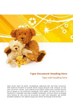 Teddy Bear Word Template, Cover Page, 02901, Holiday/Special Occasion — PoweredTemplate.com