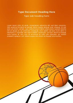 Basketball Word Template, Cover Page, 02904, Sports — PoweredTemplate.com