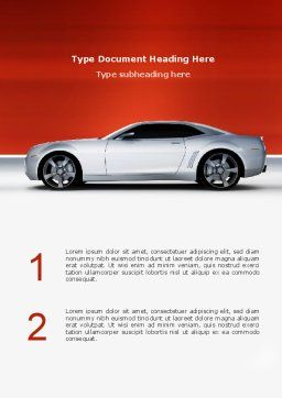 Supercar Word Template, Cover Page, 02939, Cars/Transportation — PoweredTemplate.com