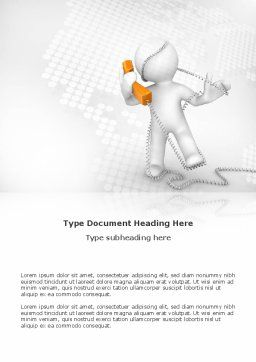 Orange Telephone Word Template, Cover Page, 02951, Telecommunication — PoweredTemplate.com