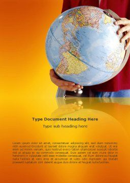 World in Your Hand Word Template, Cover Page, 02954, Global — PoweredTemplate.com